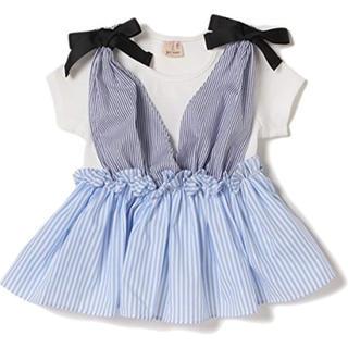 petit main - プティマイン /petitmain  肩リボンギャザービスチェ + リブTシャツ