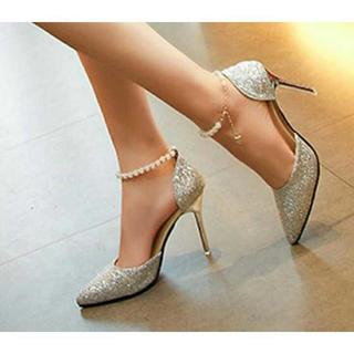 新品送料込★おしゃれパンプス★ベルト付★パーティ★結婚式★靴シルバー24.0cm(ハイヒール/パンプス)