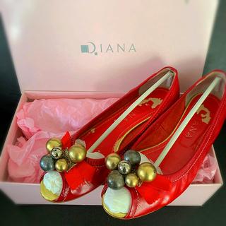 ダイアナ(DIANA)のDIANA モチーフ付きフラットシューズ 赤 RED パテントレザー(バレエシューズ)