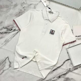 モンクレール(MONCLER)のMONCL ホワイト ロゴ 新品 カッコいい ポロシャツ(Tシャツ/カットソー(半袖/袖なし))