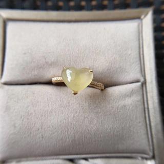 218 k18ゴールドリング ハット 黄翡翠リング ダイヤモンドリング 指輪 (リング(指輪))