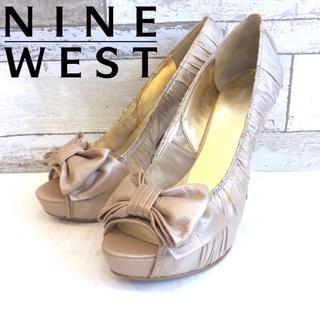 ナインウエスト(NINE WEST)の美品 NINE WEST ナインウエスト ヒール サンダル リボン ピンク(ハイヒール/パンプス)