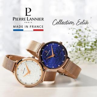 ピエールラニエ(Pierre Lannier)の*6月末までの価格*ピエールラニエ 腕時計 フラワー柄 ネイビー*美品*(腕時計)