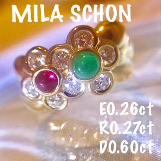 ミラショーン(mila schon)の超美品✨MILA SCHON K18 エメラルド ルビー ダイヤモンドリング(リング(指輪))