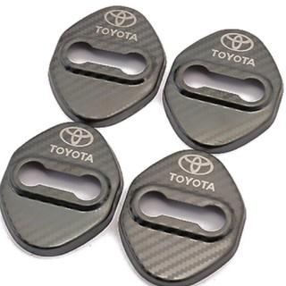 トヨタ(トヨタ)のTOYOTA 車汎用 ドアロックカバーステンレス製メッキカーボン黒(車内アクセサリ)