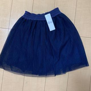GU - GU girlsチュールプリーツスカート 110 ネイビー