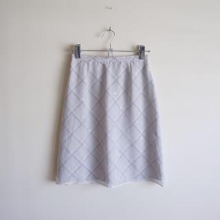 ZAZIE - 二枚仕立てチェック柄スカート グレー