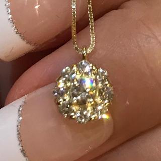 天然ダイヤモンド0.3カラット18金YGネックレス♡
