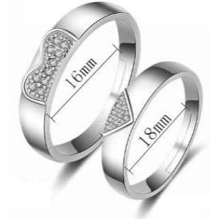 ハートで合わさる可愛いシルバーペアリングセット(リング(指輪))