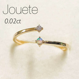 ete - 【Jouete】K10YG ダイヤ/オパール フォークリング