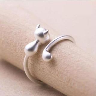 ネコ大好き♡超可愛いしっぽの長~いネコリング925マットシルバー(リング(指輪))