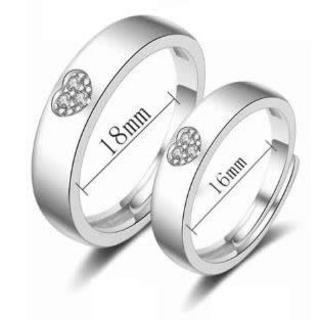 可愛いハートシンプルペアシルバーリング(リング(指輪))