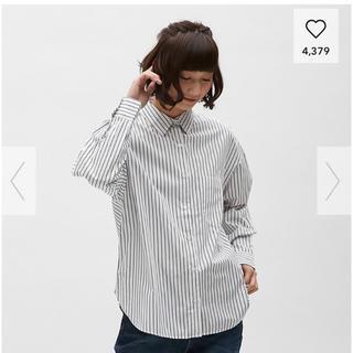 ジーユー(GU)のGUストライプオーバーサイズ  シャツ(シャツ/ブラウス(長袖/七分))