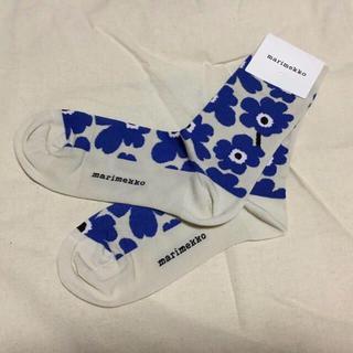 marimekko - マリメッコ☆ウニッコ靴下☆ベージュ×ブルー