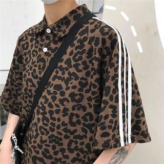韓国ファッション ヒョウ柄 豹柄 ラインポロシャツ ストリート ユニセックス (シャツ)