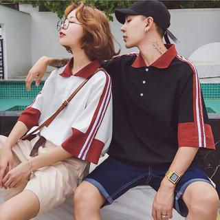 韓国ファッション メンズ ポロシャツ カジュアル ストリート ライン おしゃれ(シャツ)