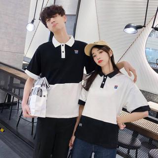 韓国ファッション モノトーン ユニセックス ポロシャツ カジュアル ストリート(シャツ)