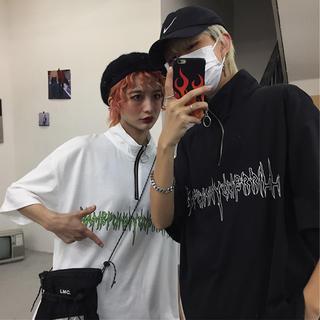 韓国ファッション メンズ ストリート ユニセックス ハーフジップ ポロシャツ(シャツ)