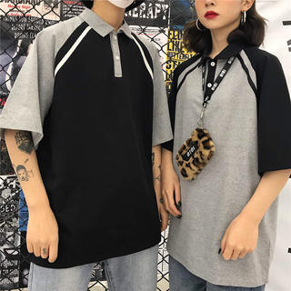 韓国ファッション メンズ ポロシャツ ユニセックス ブラック グレー カジュアル(シャツ)