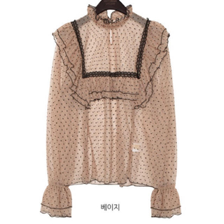 Honey mi Honey -  party mesh dot frill blouse