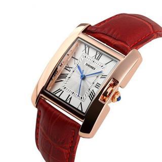 【バカ売れ】腕時計 レディース 黒ベルト 四角形 革 レッド(腕時計)