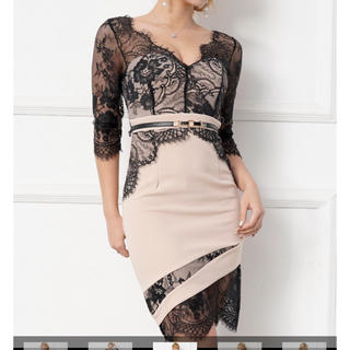 キャバミニドレス レース七分袖五分袖 ベージュ×黒(ナイトドレス)