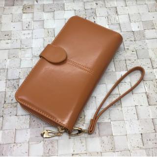 長財布 取り外し可能ストラップ付 ブラウン レディース(財布)