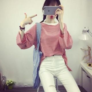 トレンド ゆったりTシャツ ビックシルエット ボーダー レディース 赤(Tシャツ(長袖/七分))
