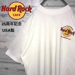 【激レア】ハードロックカフェ☆25周年記念 USA製 ビッグロゴ 古着 Tシャツ(Tシャツ/カットソー(半袖/袖なし))