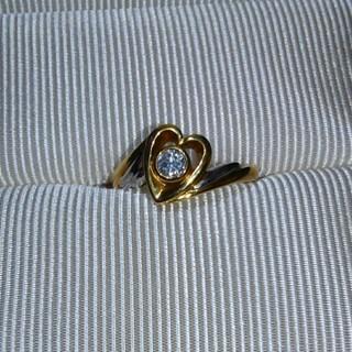 ❤お値引きしました❤ k18・Pt 900 ダイヤモンドハートリング 0.2ct(リング(指輪))