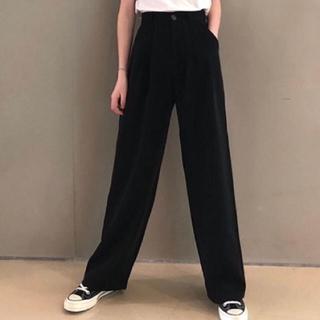 ZARA - 韓国ファッション*ハイウェスト*パンツ*黒