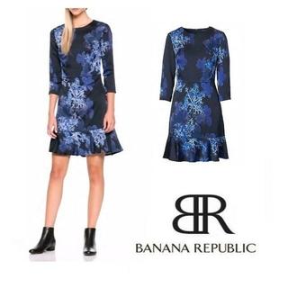 バナナリパブリック(Banana Republic)の【未使用】 Banana Republic ワンピース青×黒 サイズ0 (ひざ丈ワンピース)