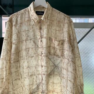 90s ポリシャツ 総柄 幾何学 アートシャツ used vintage(シャツ)