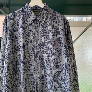 90s 総柄 ポリシャツ 幾何学 アートシャツ used vintage(シャツ)