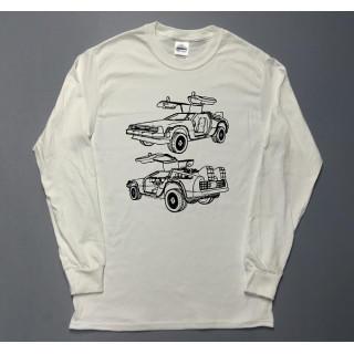 アメ車 デロリアン イラスト ロングTシャツ utn303(Tシャツ/カットソー(七分/長袖))
