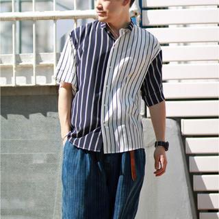 ハレ(HARE)のLui's クレイジーストライプショートスリーブシャツ アシンメトリーシャツ(シャツ)