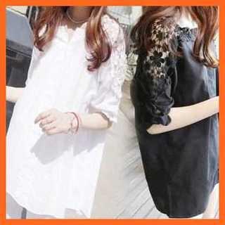 新品❤️XLサイズ プルオーバー 白シャツ 肩レース(シャツ/ブラウス(半袖/袖なし))