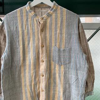 バンドカラーシャツ 七分袖シャツ 個性派 切り替え クレイジーパターン used