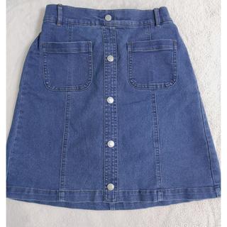 ジーユー(GU)のデニムスカートフロントボタン(ひざ丈スカート)