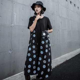 Tシャツワンピ レディース夏半袖 新品ドット 人気TG41514(ロングワンピース/マキシワンピース)