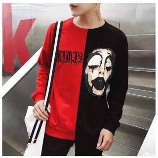 ピエロ 長袖 Tシャツ XLサイズ ユニセックス レッド ブラック プリント(Tシャツ(長袖/七分))