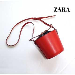 ZARA - ザラベーシック ZARA★巾着 円形ショルダーバッグ 赤 合皮 ミニバッグ