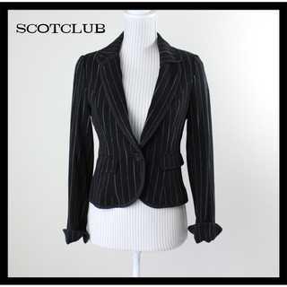 SCOT CLUB - スコットクラブ★バックリボン ストライプ テーラードジャケット 黒 9号