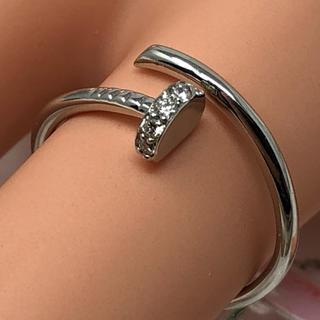 pt900 プラチナ フリーサイズリング サイズ10号 ダイヤモンド 0.06(リング(指輪))