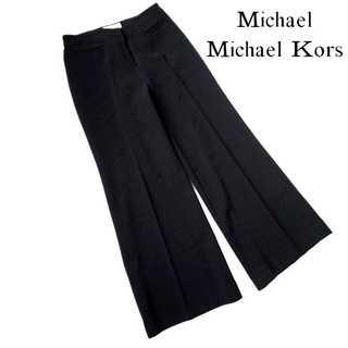マイケルコース(Michael Kors)のマイケル マイケルコース★センタープレス ワイドパンツ 2 黒 ジャージー素材(カジュアルパンツ)