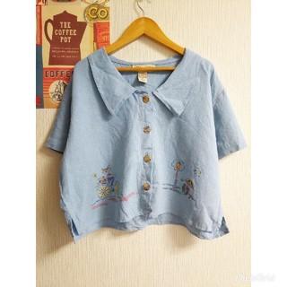 昭和レトロ個性派古着vintageショート丈半袖リネンシャツ ブラウスused(シャツ/ブラウス(半袖/袖なし))