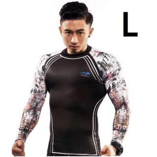 L 黒 長袖 コンプレッション ウェア スポーツ インナー T シャツ 新品