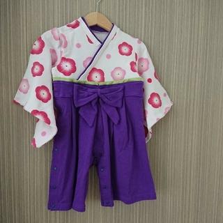 ベルメゾン(ベルメゾン)の美品★袴 ロンパース 女の子★80(和服/着物)