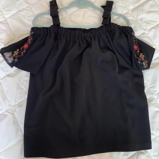 シマムラ(しまむら)の新品タグ付 しまむら リボンオフショル トップス 黒 刺繍レース Lサイズ(カットソー(半袖/袖なし))