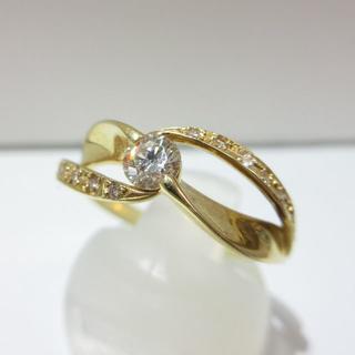 新品◆K18イエローゴールド製◆天然ダイヤモンド0.30ct◆3g(リング(指輪))